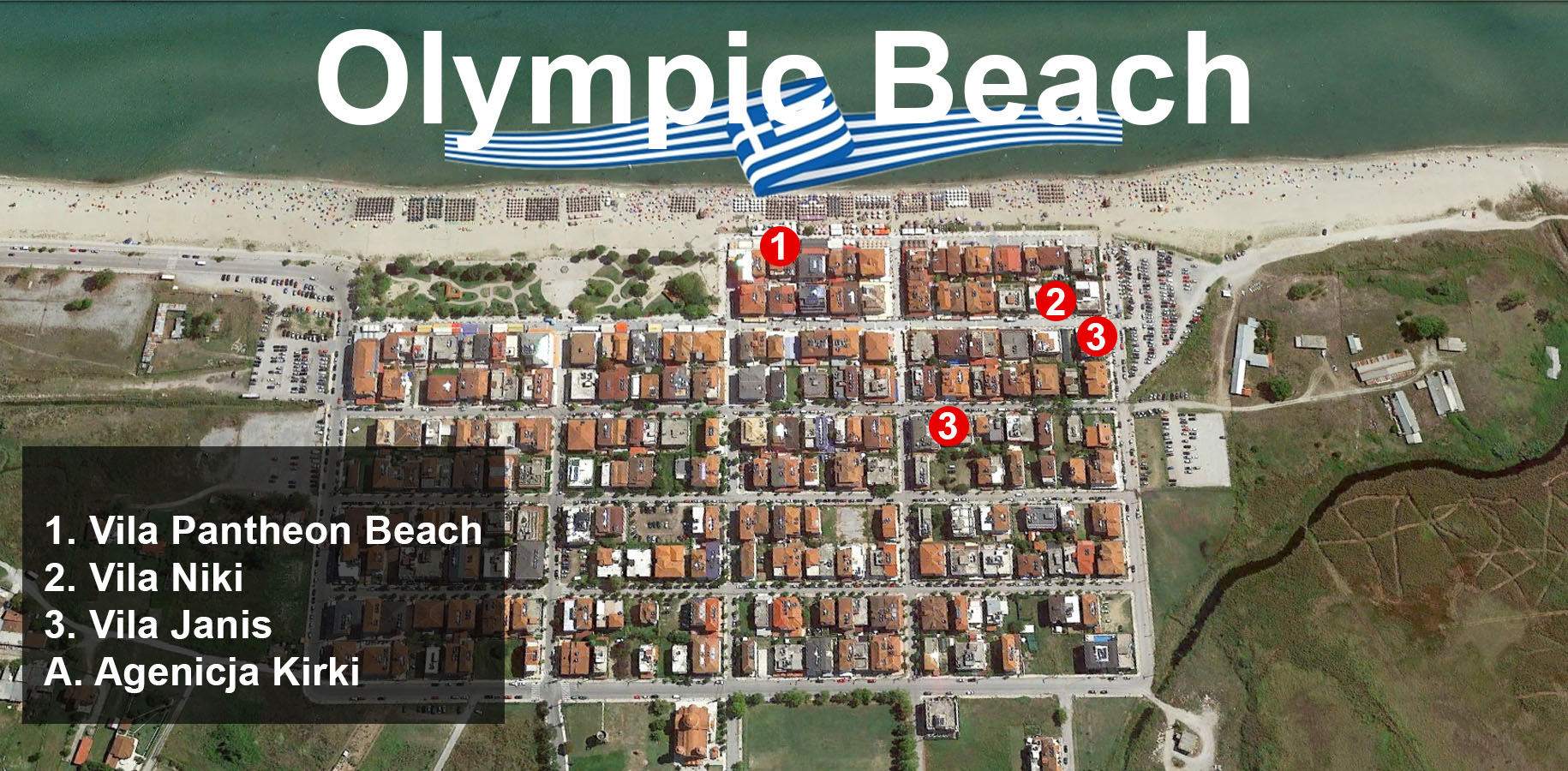 Mapa Olympic Beach Holiday Turisticka Agencija